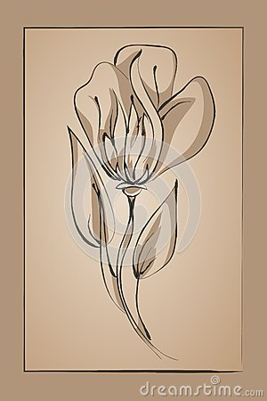 Abstract flower on a beige background. Imitation ink