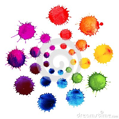 Free Abstract Flower Made Of Watercolor Blobs. Colorful Abstract Vector Ink Paint Splats. Color Wheel. Royalty Free Stock Photos - 51059538