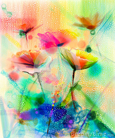 Abstract Flower Watercolor Painting Stock Illustration ... White Daisy Flowers Clipart