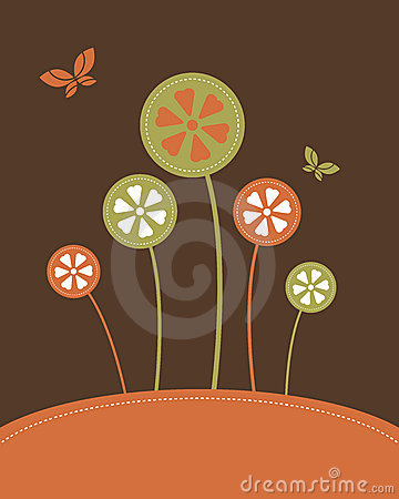 Abstract flowers background - vector