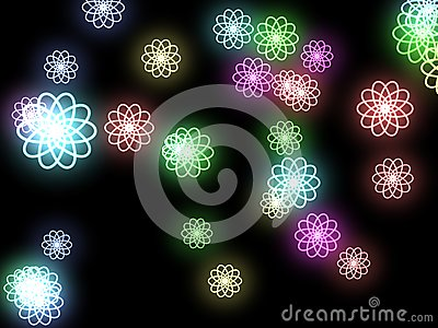Abstract flowers on a black background