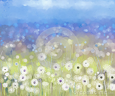 Abstract flowers plant.Oil painting Stock Photo