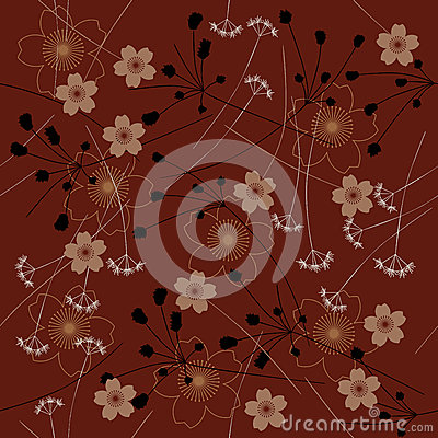 Abstract flowers - seamless pattern