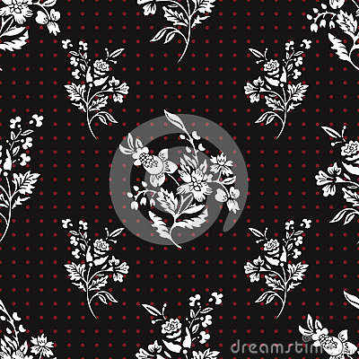 Free Abstract Flowers Seamless Pattern, Floral Vector Background. Fantasy White  On Black  And Red Polka Dot. For The Design Royalty Free Stock Images - 84239999