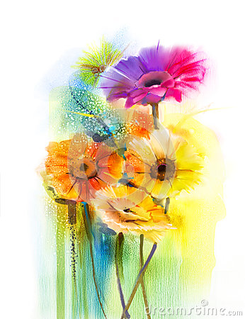 Free Abstract Flowers Watercolor Painting Daisy Gerbera Flowers Royalty Free Stock Image - 68601386