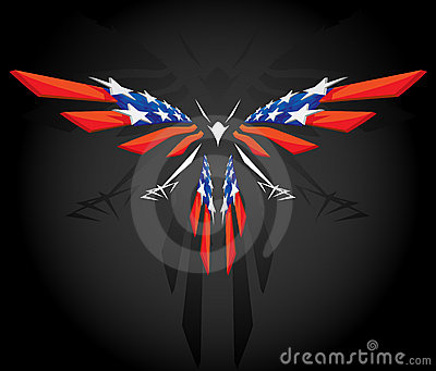 Abstract flying American flag