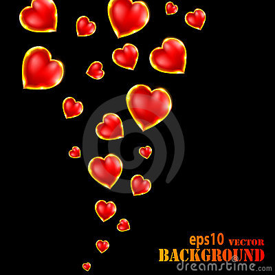 Abstract flying hearts on black background