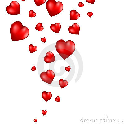 Abstract flying red hearts background