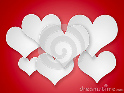 Abstract flying  white hearts on red background.