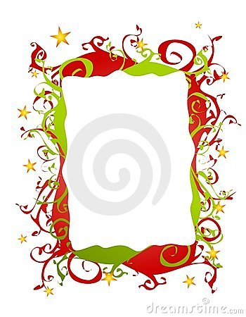 Abstract Folksy Christmas Border or Frame