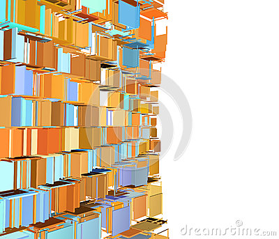 Abstract fragmented pattern in green orange