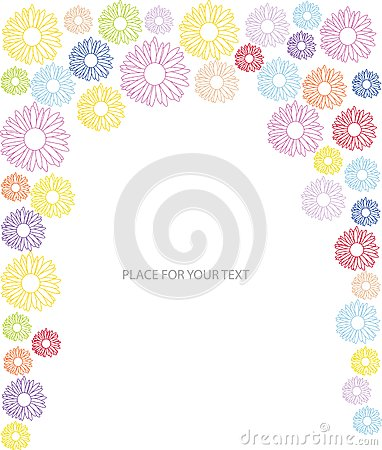 Abstract frame with many color flower silhoues