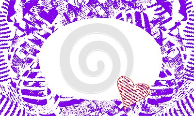 Abstract frame with oval neckline and purple hearts Vector Illustration