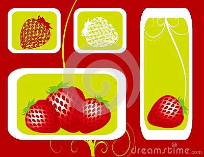 Abstract fruit Illustration strawberry  red
