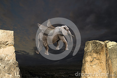Abstract Fun Flying Elephant with Wings Concept
