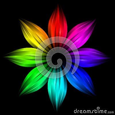 Abstract futuristic rainbow flower
