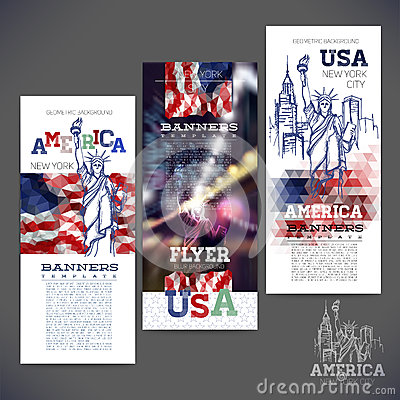 Free Abstract Geometric Background,banners, Flag Of USA Stock Images - 47462094