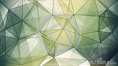 Abstract geometric background dark green triangles and lines Stock Photo