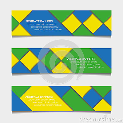 Abstract geometric banners in Brazil flag colors