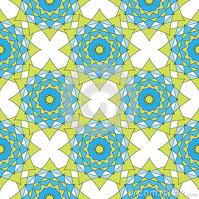 Abstract geometric mosaic background. Geometric seamless spirograph pattern in blue and green colors. Vector illustration. Design Cartoon Illustration