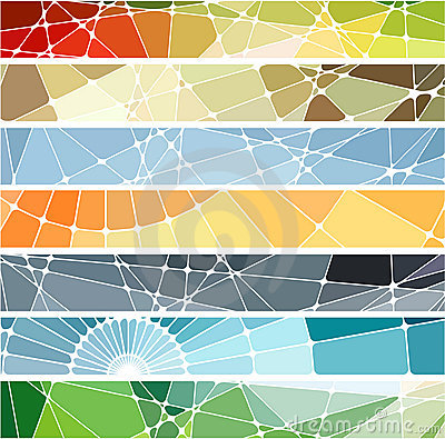 Free Abstract Geometric Mosaic Banners Set Stock Image - 12791541