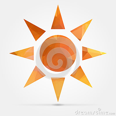 Abstract Geometric Orange Sun From Triangular Faces For