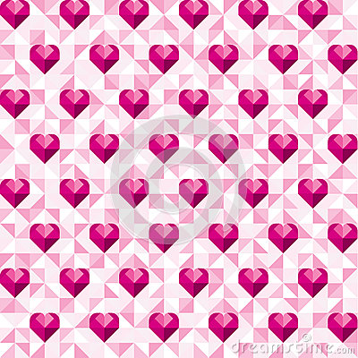 Free Abstract Geometric Pink Hearts Pattern Royalty Free Stock Photo - 65810955