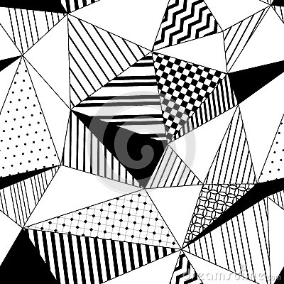 Free Abstract Geometric Striped Triangles Seamless Pattern In Black And White, Vector Royalty Free Stock Images - 42163829