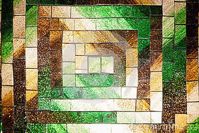 Abstract glass mosaic background green brown tone Stock Photo