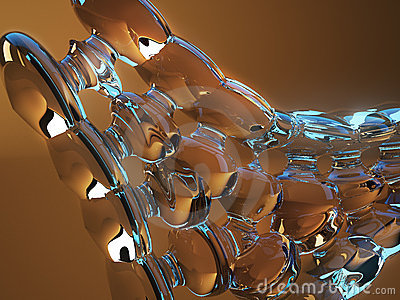 Abstract glass shape with warm lighting