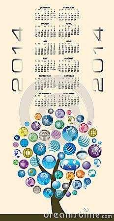 Abstract global 2014 calendar
