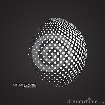 Free Abstract Globe Dotted Sphere, 3d Halftone Dot Effect. White Colo Stock Images - 79794594