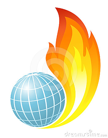 Abstract globe with fire flames