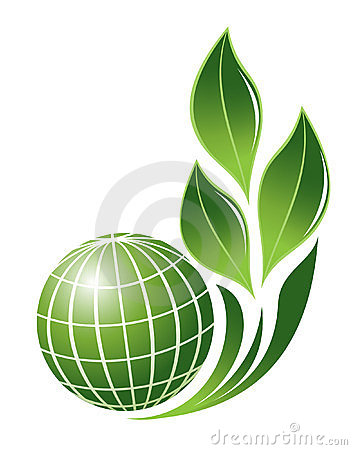 Abstract globe with plant symbol