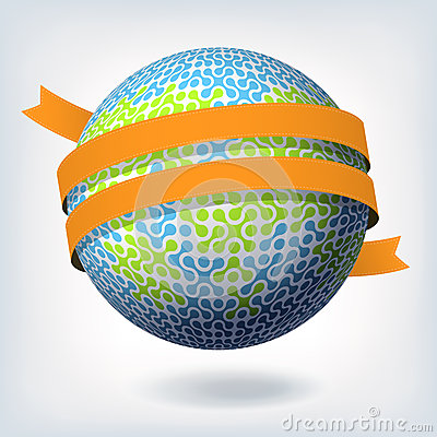 Abstract globe symbol with orange ribbon.
