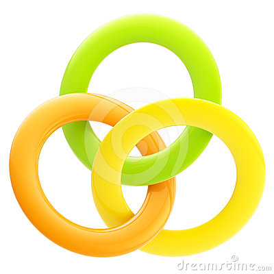 Abstract glossy emblem made of interlinked rings