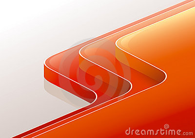 Abstract glossy red orange 3D perspective steps.