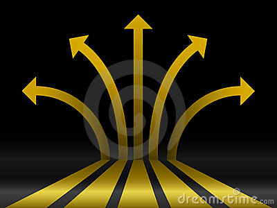 Abstract gold 3d arrows