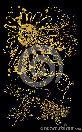 Abstract gold black background