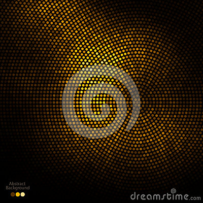 Abstract gold and black dots background