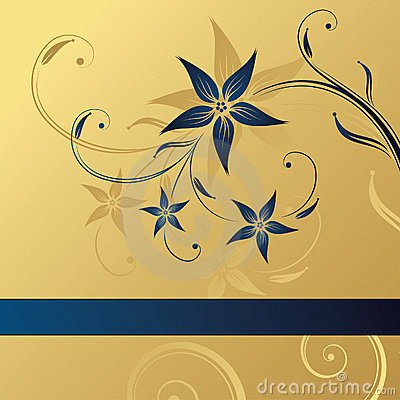 Free Abstract Gold-blue Floral Background Stock Image - 5050381