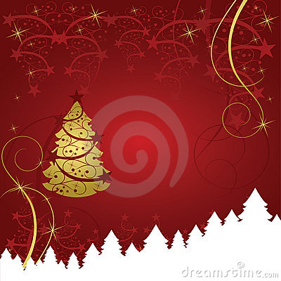 Abstract gold christmas tree card