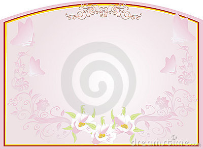 Abstract gold frame with pink floral design