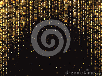 Abstract gold glitter lights vector background with falling sparkle dust. Luxury rich texture Vector Illustration