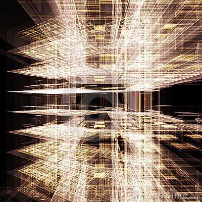 Abstract gold office building
