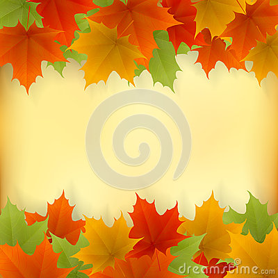Abstract golden autumn frame from maple leaves