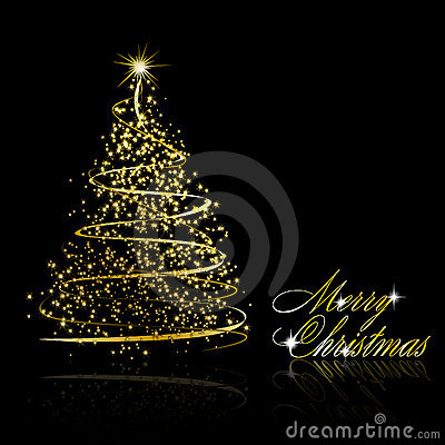 Abstract golden christmas tree on black background