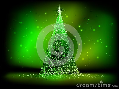 Abstract golden christmas tree on green. EPS 10