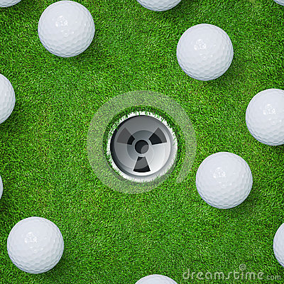 Free Abstract Golf Sport Background Of Golf Ball And Golf Hole On Green Grass Background. Stock Image - 86001141