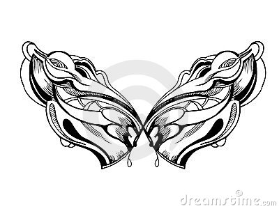 Abstract graphic design in black and white wings